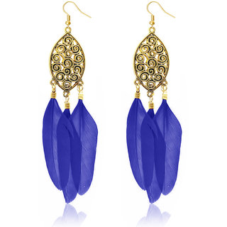 JewelMaze Gold Plated Blue Feather Earrings
