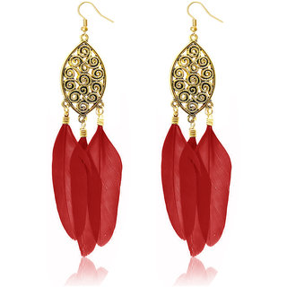 JewelMaze Gold Plated Red Feather Earrings
