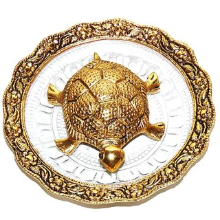 Agarwal Trading Corporation Oxidized Golden Metal Tortoise on Glass Plate For Good Luck feng shui Gift Item For Vaastu H
