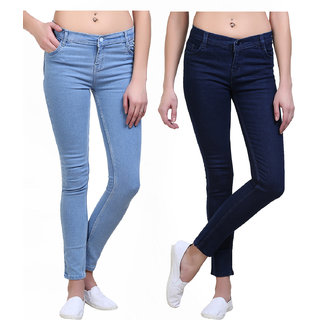 Skinny Fit Dark Blue-Ice Blue Ladies Jeans Combo