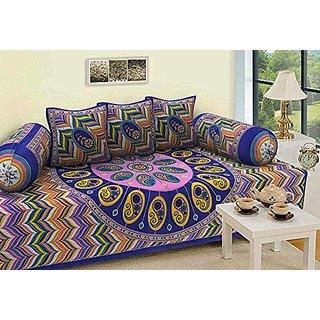 Dhawariya Fashions Multicolor Traditional Print Diwan Set Diwan Cover Cushion Cover Bolster Cover In Combo