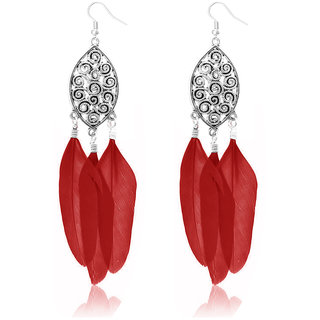 JewelMaze Silver Plated Red Feather Earrings