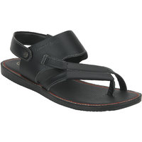Red Tape Men Black Leather Casual Sandals