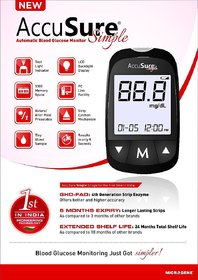 Dr. Gene AccuSure SIMPLE Blood Glucose Monitor With 25 Strips (LONGER LASTING STRIPS)