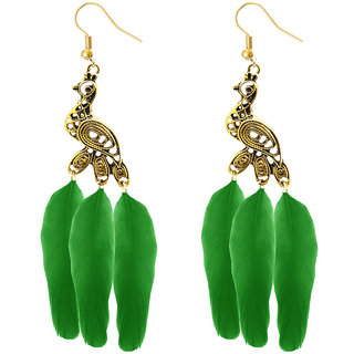 JewelMaze Gold Plated Green Peacock Feather Earrings