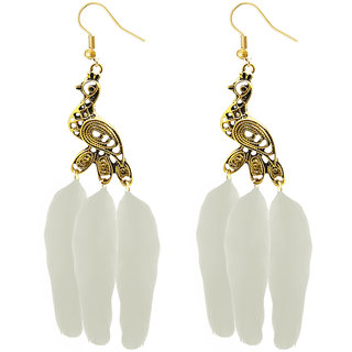 JewelMaze Gold Plated White Peacock Feather Earrings