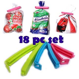Right Traders 18Pc 3 Different Size Plastic Food Snack Bag Pouch Clip Sealer for Keeping Food Fresh