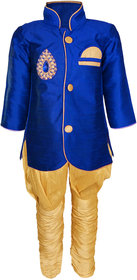 JBN Creation Boys Cotton Silk Sherwani & Breeches Set For Kids (Color: Blue & Gold)