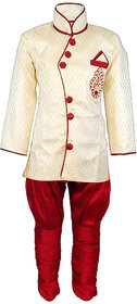 JBN Creation Boys Cotton Silk Sherwani & Breeches Set For Kids (Color: Gold & Maroon)