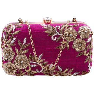 TARUSA Maroon Silk Material Box Clutch For Women