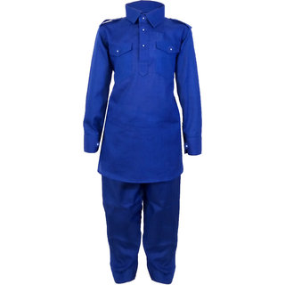 JBN Creation Boys Cotton Linen Pathan Suit Set For Kids (Color: Blue)