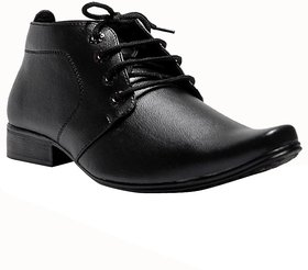 0Annoyance Mens Black Leather Daily Wear Formal Shoes
