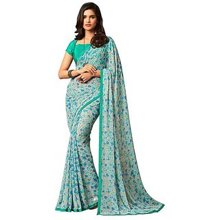 Florence Blue Georgette Printed Saree with Blouse