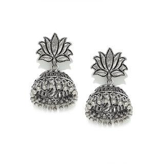 RUBANS Silver Color Ethnic  Drop Earrings