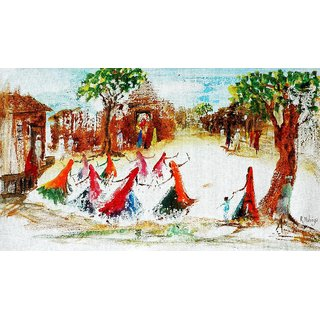 Harmony Arts Online Presents Brushless Indian Village Raasleela Painting For Home & Office Decor. Model no : MA16. Size :- 18 x 10 (in.)