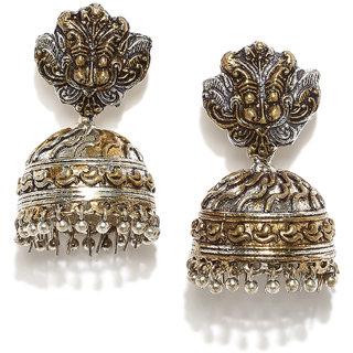 Rubans Silver Color Ethnic Dome Shaped Jhumkas