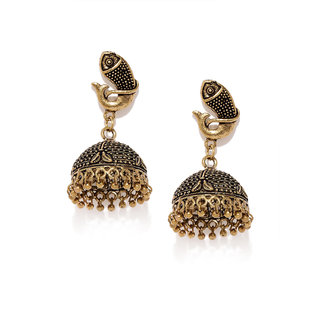RUBANS Gold Color Ethnic Contemporary Drop Earrings