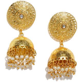 RUBANS  Gold Color Circular  Jhumkas