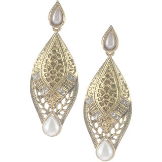My Design White Pearl Stone Drop Earrings For Women And Girls