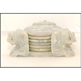 Handicrafts Stone Coaster Set (Triangle Shape) With 3 Elephant Carved AT corners ( Tea Coaster)