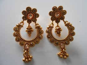 Arista Traditional Gold Plated Elegantly Handcrafted Kundan  Stone Earrings for Women.