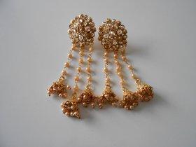 Arista Beaded Jhumka Style Long Dangle Earring