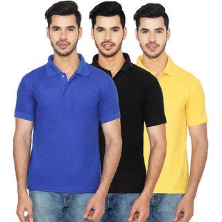 Ansh Fashion Wear Cotton Blend Polo T-Shirt Pack Of 3