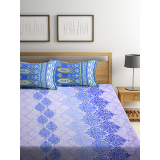 Bombay Dyeing Florentine 100% Cotton Double Bed Sheet with 2 Pillow Covers