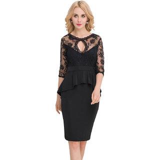 Psychovest Women Three Quarters Sleeve Embroidery Black Peplum Dress