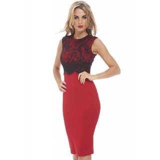 Psychovest Women Sleeveless Midi Dress with Contrast Lace Overlay