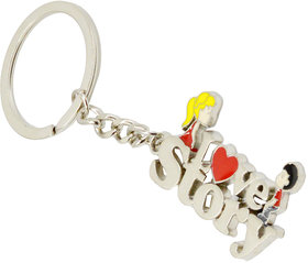 Faynci Stylish I Love Story Key Chain with Boy and Girl theme
