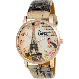 Ismart attractive Eiffel Tower design Multicolour stylish bracelet leather belt analog Watch - For Girls