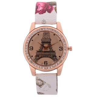 FAP Miss Analog  Design Gold, White Strap Color Women leather Watch
