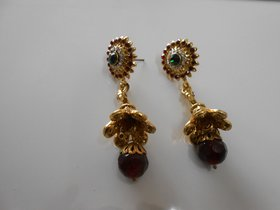 Arista Traditional Goldtone Bridal Red Stone Dangle Earrings Designer Jewelry