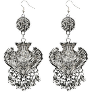 JewelMaze Zinc Alloy Rhodium Plated Dangler Earrings