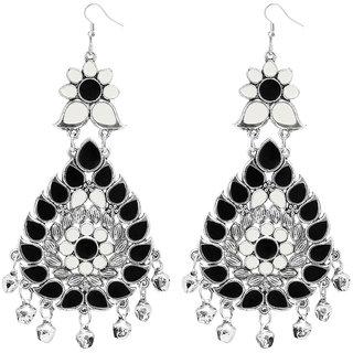 JewelMaze Black Meenakari Afghani Dangler Earrings