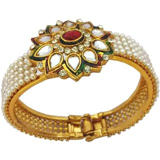 Kundan Ruby Pearl GOLD PLATED Flower Motif Openable Kada - See more at http//w
