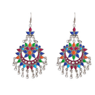 JewelMaze Multicolour Meenakari Gold Plated Afghani Earrings