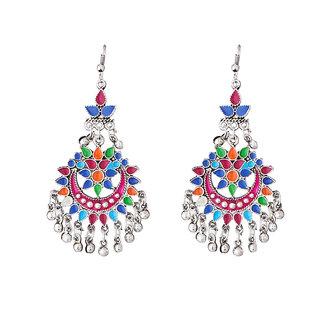 JewelMaze Multicolour Meenakari Silver Plated Afghani Earrings