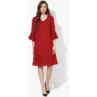 Scarlet red crepe woven dress