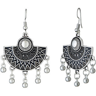 JewelMaze Black Meenakari Rhodium Plated Afghani Earrings