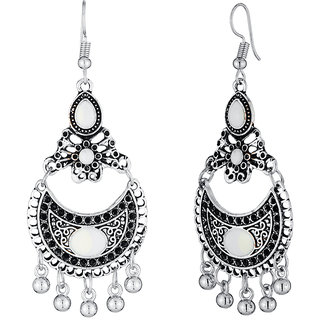 JewelMaze Rhodium Plated White Meenakari Afghani Earrings