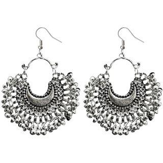 JewelMaze Rhodium Plated Afghani Earrings