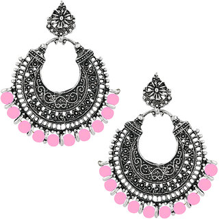 JewelMaze Pink Beads Rhodium Plated Afghani Earrings