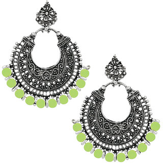 JewelMaze Silver Plated Green Beads Afghani Earrings