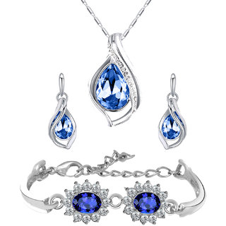 Mahi Combo of Designer Blue Floral Link Bracelet and Pendant Set with Crystal Stones CO1104691R