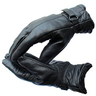 Black Synthetic Leather Winter Gloves For Men's By Fashion Trend
