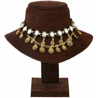 Meia White Stone Antique Gold Statement Necklace