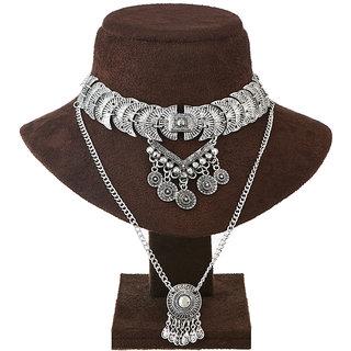 JewelMaze Rhodium Plated Statement Necklace