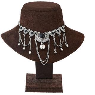 JewelMaze Rhodium Plated Black Pota Stone Statement Necklace